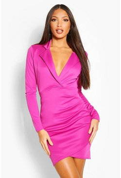 Violet Tall Scuba Ruched Blazer Dress