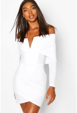 White Tall Bardot V Bar Wrap Mini Dress