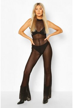 Black Tall Stripe Mesh High Neck Flared Jumpsuit