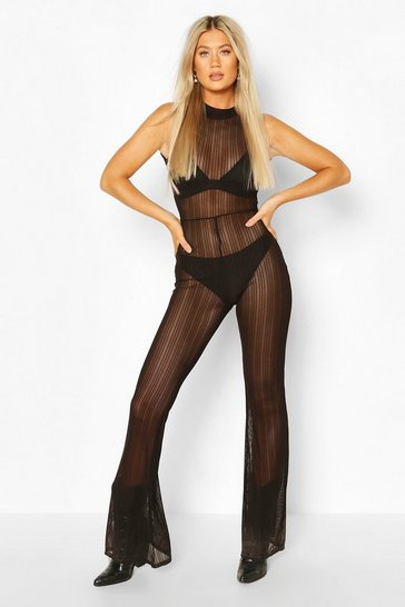 Tall Stripe Mesh High Neck Flared Jumpsuit