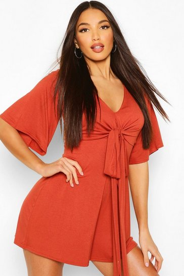 Terracotta Tall Jersey Wrap Around Waist Playsuit