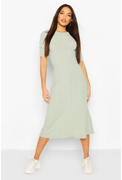 Sage Tall Rib Open Back Floaty Midi Dress