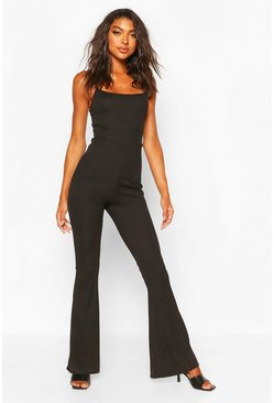 Black Tall Flare Leg Rib Jumpsuit