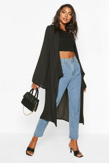 Black Tall Chiffon Knot Front Duster