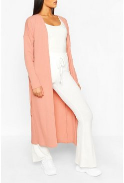 Pink Tall Ribbed Belted Duster