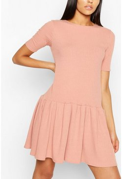 Pink Tall Rib Oversized Smock Dress