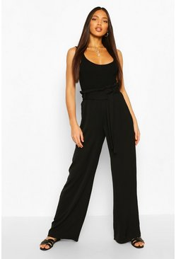 Black Tall Linen Look Wide Leg Pants