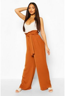 Terracotta Tall Linen Look Wide Leg Trousers