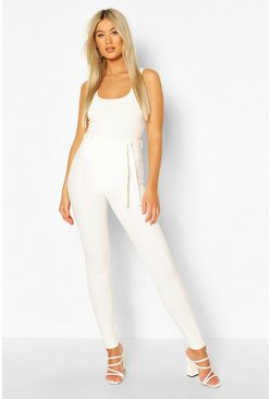Ivory Tall Seam Detail Belted Skinny Trousers