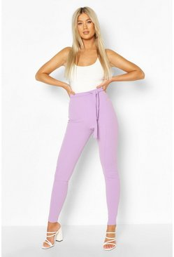 Violet Tall Seam Detail Belted Skinny Trousers
