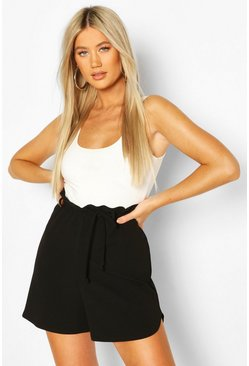 Black Tall Belted Tailored Shorts