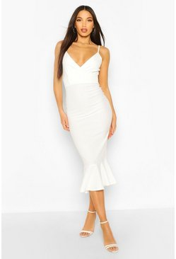 Ivory Tall Peplum Hem Midi Dress