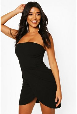 Black Tall Bandeau Wrap Mini Dress