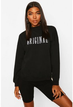 Black Tall Embroidered 'ORIGINAL' Slogan Sweatshirt