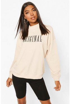 Stone Tall Embroidered 'ORIGINAL' Slogan Sweatshirt