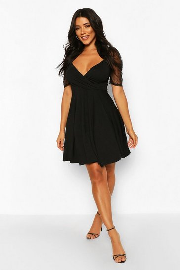 Black Tall Puff Sleeve Dobby Mesh Skater Dress