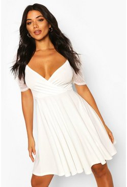 Ivory Tall Puff Sleeve Dobby Mesh Skater Dress