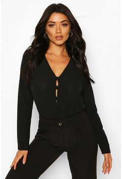 Black Tall Button Down Bodysuit