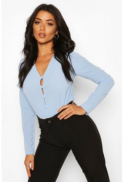 Powder blue Tall Button Down Bodysuit
