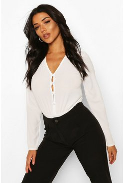 White Tall Button Down Bodysuit