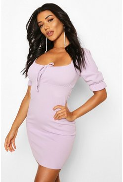Lilac Tall Puff Sleeve Ruched Front Dress