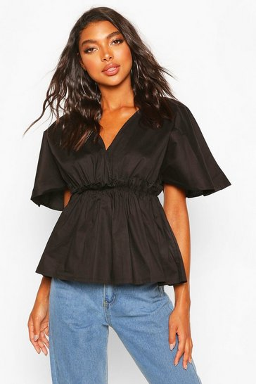 Black Tall Cotton Poplin Wrap Smock Top