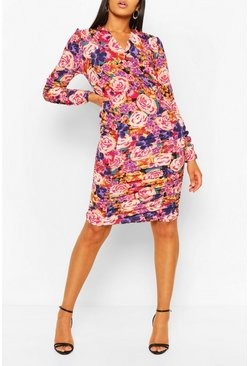 Purple Tall Woven Floral Ruched Front Mini Dress