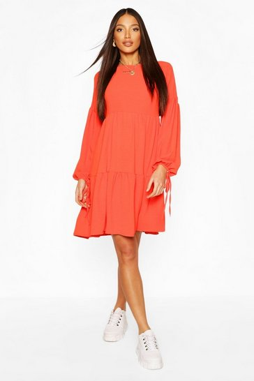 Coral Tall Woven Tiered Smock Dress