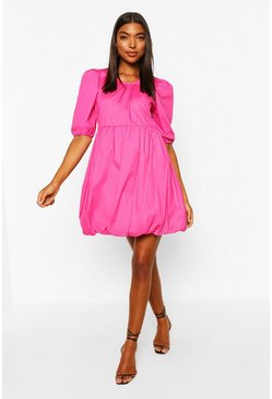 Candy pink Tall Cotton Poplin Puff Ball Dress