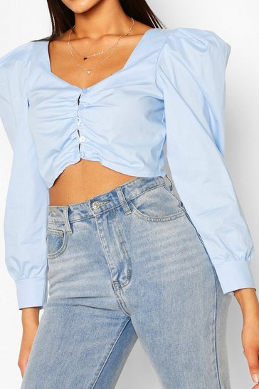 Blue Tall Cotton Poplin Puff Sleeve Crop Top