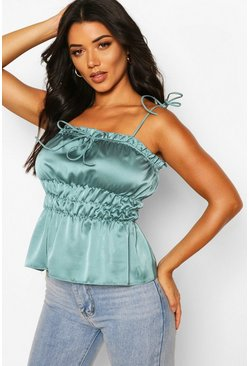 Aqua Tall Satin Tie Strap Ruched Crop Top