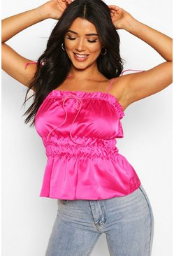 Candy pink Tall Satin Tie Strap Ruched Crop Top