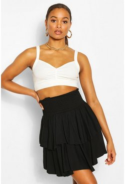 Black Tall Shirred Tiered Ruffle Skater Skirt