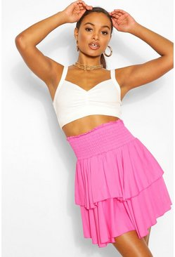 Rose Tall Shirred Tiered Ruffle Skater Skirt
