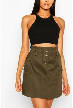 Tall High-waist Rock aus Baumwollpopelin, Khaki