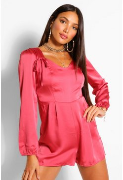 Rose Tall Satin Bow Detail Romper