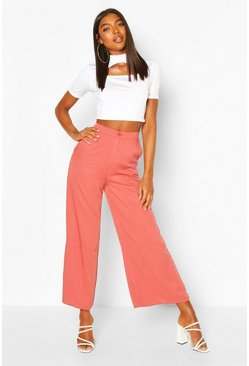 Terracotta Tall Linen Look Pocket Wide Leg Trousers