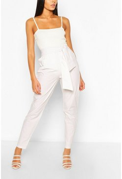 Ecru Tall Cotton Poplin Tie Waist Trousers