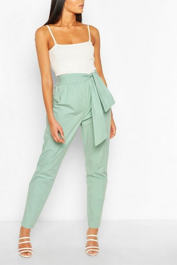 Sage Tall Cotton Poplin Tie Waist Trousers