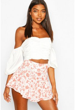 Coral Tall Woven Floral Print Ruffle Skort