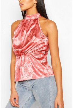 Pink Tall Floral Satin Jacquard Tie Neck Top