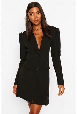 Black Tall Puff Sleeve Blazer Dress