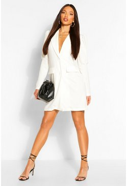 Ivory Tall Puff Sleeve Blazer Dress