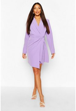 Lilac Tall Woven Ruched Side Tie Blazer Dress