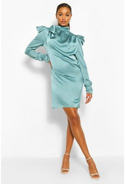 Mint Tall Satin Puff Shoulder Tie Neck Dress