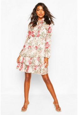 Ecru Tall Floral Metallic Ruffle Hem Skater Dress