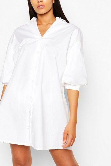 Ivory Tall Cotton Poplin Puff Sleeve Dress