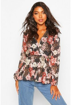 Black Tall Floral Metallic Wrap Blouse