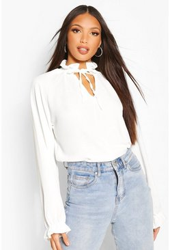 Ivory Tall Woven Tie Neck Blouse