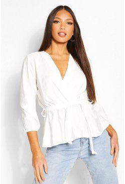 Ivory Tall Woven Tie Waist Wrap Blouse